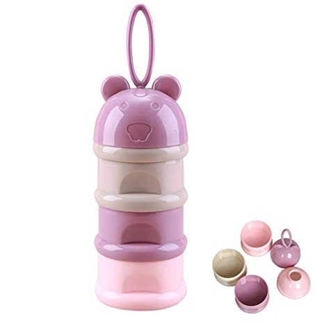 Pink Per Portable Baby Milk Powder Formula Dispenser Container for Storage Milk Powder Box Snack Container Feeding Box Case