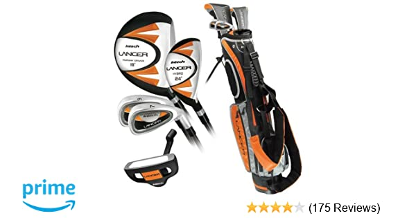 3c6006a08385 Amazon.com   Intech Lancer Junior Golf Club Set (LH Orange Ages 8-12)   Golf  Club Complete Sets   Sports   Outdoors