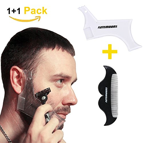 FATEMOONS Beard Shaping Tool-Transparent Styling Template,All IN ONE Beard Guide/Multi-liner Beard Shaper Template Comb- Works with any Beard Razor or Clippers(Do It Yourself)