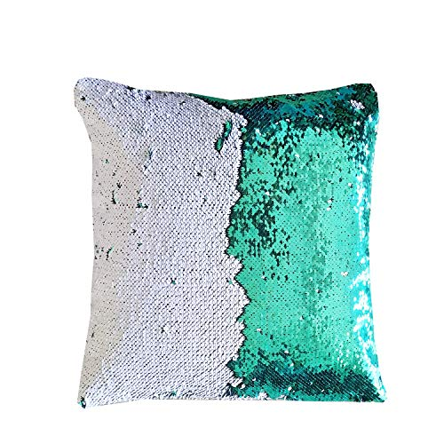 "16""x 16"" with Insert Mermaid Flip Sequin Pillow That Changes Color Reversible Pillow with Sequins Perfect Color Changing Throw Pillow Square for Home Decor Green White"