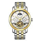 Rz Guanqin Men Automatic Mechanical Watch Hollow 100m Waterproof Luminous Tourbillon Sapphire Crystal Stainless Steel 40mm Wrist Watch for Men