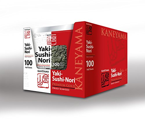 Kaneyama Yaki Sushi Nori / Dried Seaweed (Vacuum-packed/re-sealable), Premium Gold Grade (Half Size 100 Sheets 10 Packs) by Kaneyama (Image #6)