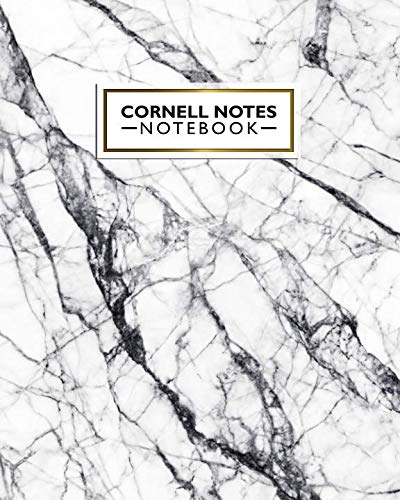 Cornell Notes Notebook: Large Cornell Note Paper Notebook. Cute College Ruled Medium Lined Journal Note Taking System for School and University - Nifty Black & White Marble Print