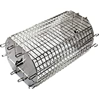 OneGrill Performer Series Universal Fit Grill Rotisserie Spit Rod Basket; Stainless Steel Tumble & Flat Basket in One.(Fits 1/2 Inch Hexagon & 3/8 Inch Square Spits)