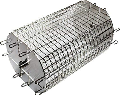 OneGrill Performer Series Universal Fit Grill Rotisserie Spit Rod Basket; Stainless Steel Tumble & Flat Basket in One.(Fits 1/2