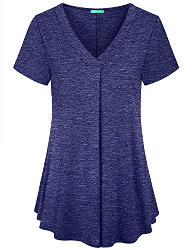 Kimmery Comfy Shirts for Women, Ladies Short Sleeve Tunics V Neck Pleated Front Latest Design Blouse Lightweight Flattering Loose Fitting Gorgeous Looking Swing Flowy Summer Tops Plus Size Blue XXL