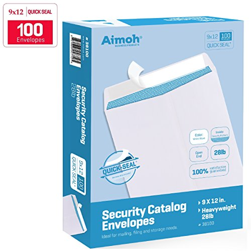 Fold Letter Envelope - 100 9 x 12 SELF SEAL Security White Catalog Envelopes - 28lb - Security Tinted, Ultra Strong QUICK-SEAL, 9 x 12 inch (38100)
