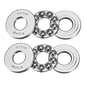 uxcell 51100 Thrust Ball Bearings 10mm x 24mm x 9mm Chrome Steel ABEC3 Single Row Roller 2pcs