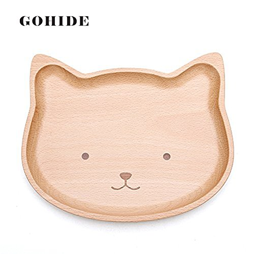 Hsu Cat (A Cute Cat Shape Food Dish for Kids Baby Wooden Appetizer Platter Dinner Plate Tray Wood Dinner Plate for Children kids HSU CX)