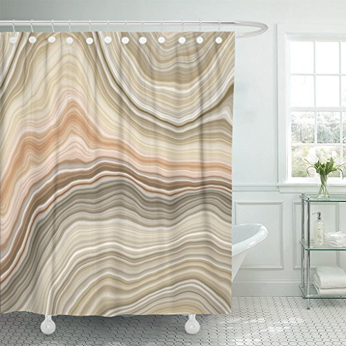 Marble Beige Cream - TOMPOP Shower Curtain Beige Stone Wide Onyx Slice Brown Agate Quartz Marble Waterproof Polyester Fabric 72 x 78 Inches Set with Hooks