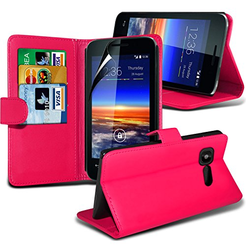Fone-Case ( Hot Pink ) Vodafone Smart 4 Mini Faux Stylish PU Leather Wallet Credit / Debit Card Flip Case Skin Cover With Screen Protector Guard
