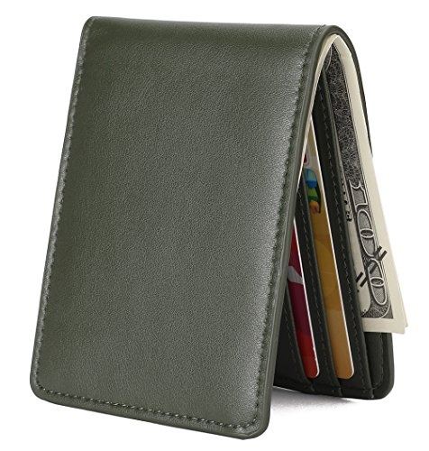 Mens Slim Front Pocket Wallet ID Window Card Case with RFID Blocking - Green
