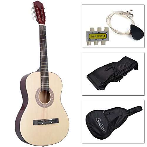 Acoustic Guitar W/ Guitar Case, Strap, Tuner and Pick for New Beginners Beige Bonus free ebook By Allgoodsdelight365