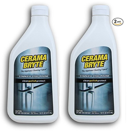 Cerama Bryte Stainless Steel Cleaning Polish (with Mineral Oil), 2 Pack 16oz each