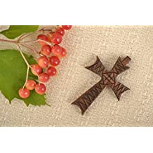 Handmade Cross Pendant Wooden Necklace Ethnic Jewelry Inspirational Gifts