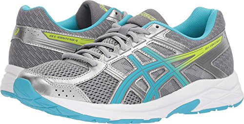 ASICS Womens Gel-Contend 4 Low Top Lace, Silver/Aquamarine/Sharp Green, Size 8.5
