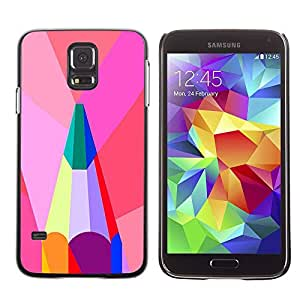 Paccase / SLIM PC / Aliminium Casa Carcasa Funda Case Cover - Polygon Artist Green Pink Teal - Samsung Galaxy S5 SM-G900