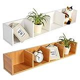 CD/DVD Storage Shelf-Modern Wall Mount Display Shelf CDs/DVDs Organizer Storage Rack Wooden Unit 4 Cases (White)