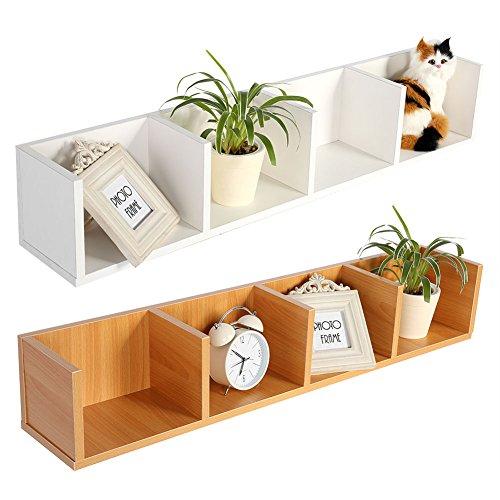 Yosooo CD/DVD Storage Shelf-Modern Wall Mount Display Shelf CDs/DVDs Organizer Storage Rack Wooden Unit 4 Cases (White)