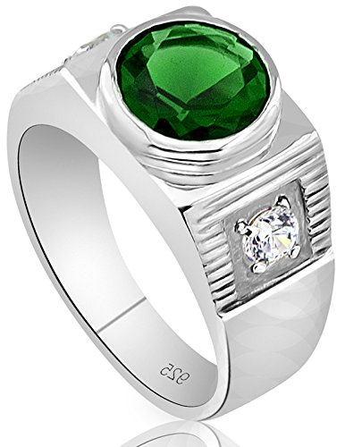 Men's Sterling Silver .925 Ring with Green Round Center CZ Stone and 2 White Cubic Zirconia (CZ) Stones by Sterling Manufacturers (Image #1)