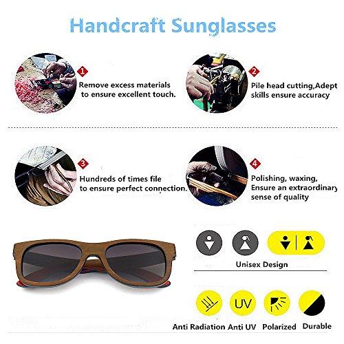 rétro protection lunettes brown Handcraft UV400 Style unisexe pour Couleur Orange de Coloré en KOMEISHO soleil Rimmed de bois lentille adulte couleur Green q06EXwx