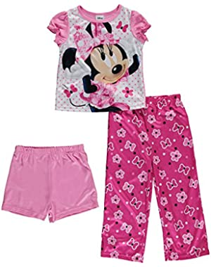 3 Piece Girls Toddler Minnie Mouse Pajama Set, Toddler Sizes 2T-4T