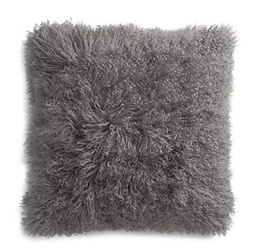 ROSE FEATHER Real 100% Tibetan Mongolian Lamb Sheepskin Wool Fur Super Soft Plush Leather Pillowcase Cushion Cover (Grey, 18x18)