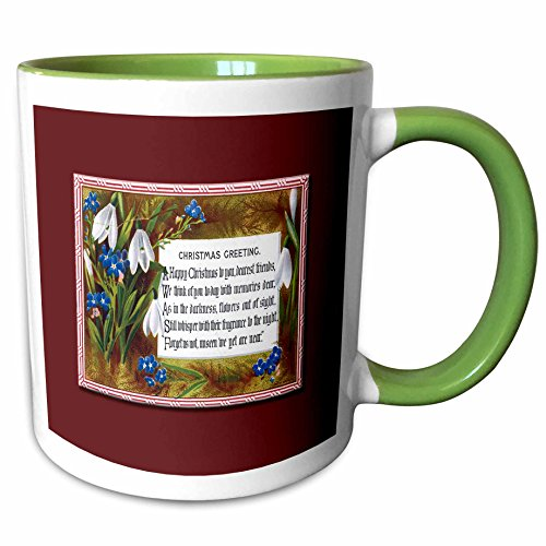 3dRose BLN Vintage Christmas Designs - Christmas Greetings With White Snowbell and Blue Flowers Framed in Red on a Red Background - 11oz Two-Tone Green Mug (2 Tone Red Coffee Mug)