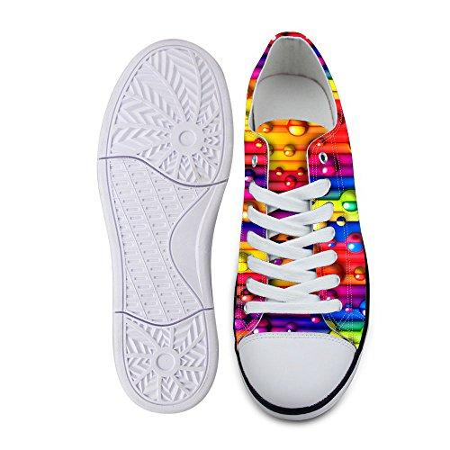 Pour U Conceptions Élégant Unisexe Bande Vague Impression Bas Haut Chaussures Plates Légère Mode Sneaker Lacets Multi B