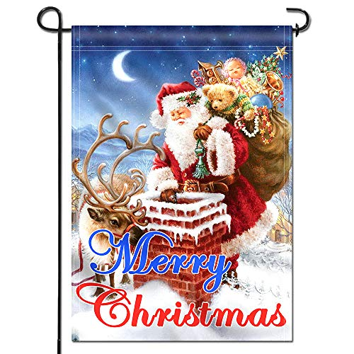 Anley |Double Sided| Premium Merry Christmas Garden Flag, Santa Claus Winter Decorative Garden Flags - Weather Resistant & Double Stitched - 18 x 12.5 -