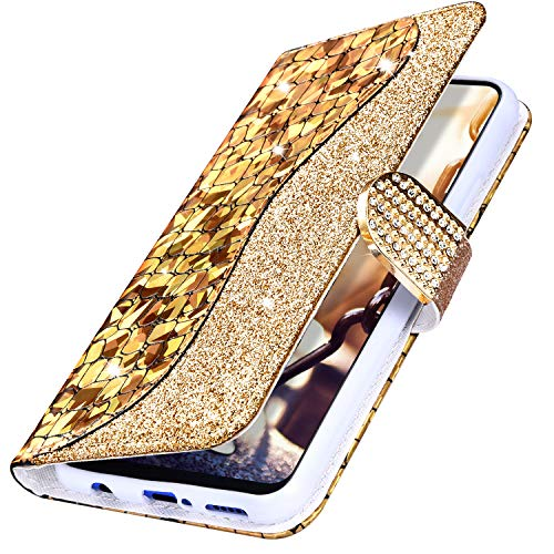 Price comparison product image MoreChioce Compatible with Samsung Galaxy M30 Wallet Case, Luxury Bling Shining Sparkle Back Leather Bookstyle Flip Protective Case Compatible for Galaxy M30, (Gold)