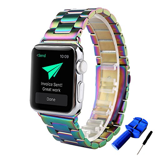 HUANLONG Apple Watch Band, Latest Solid Stainless Steel Metal Replacement 3 Pointers Watchband Bracelet with Double Button Folding Clasp for Apple Watch Iwatch (Colorful 42mm)