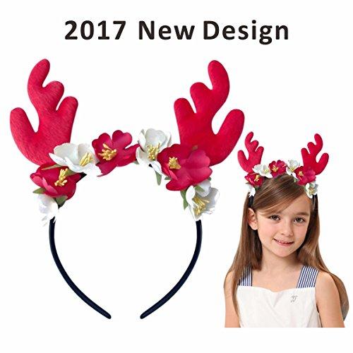 Make Deer Antlers Costume (Christmas Reindeer Antlers Headband Deer Costume - Red Plush with Flowers 2017 New Design)