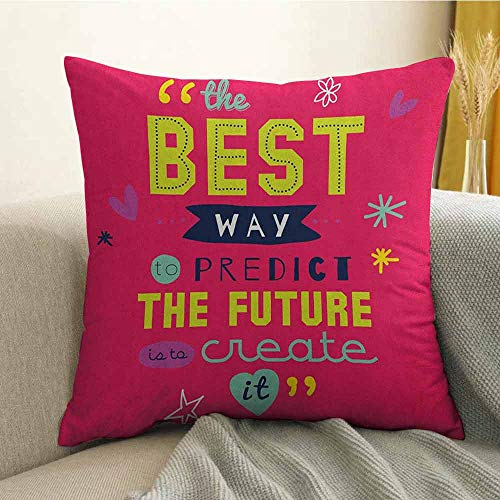 FreeKite Quotes Microfiber Motivational Typography The Best Way to Predict Future is to Create it Sofa Cushion Cover Bedroom car Decoration W24 x L24 Inch Dark Coral Multicolor