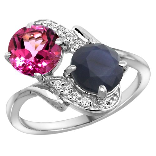 14k White Gold Diamond Natural Pink Topaz & Blue Sapphire Mother's Ring Round 7mm, size 10