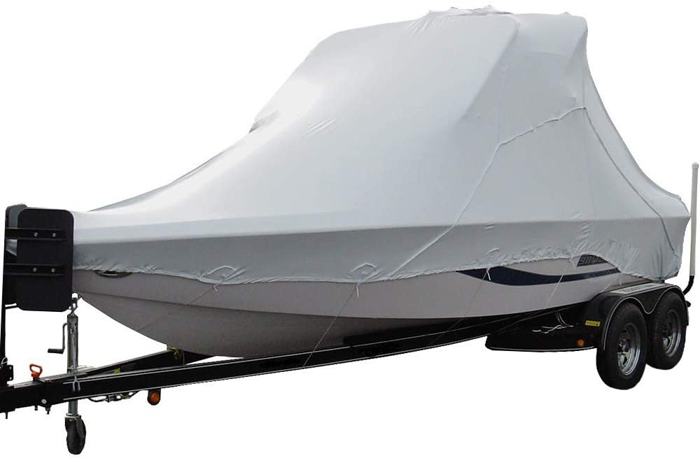 Transhield Heavy Duty Waterproof Over The Wake Tower Boat Cover for Storage | Fits Vhull and Wide Bow Runabout Ski Boats (Sizes 21 ft, 22 ft, 23 ft, 24 ft, 25 ft, 26 ft, 27 ft) | Covers