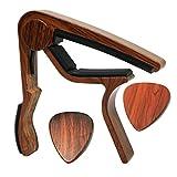 MOREYES Guitar Capo for Acoustic Guitar ,Ukelele, Electric Guitar,Bass with Wood Color Guitar Picks(GC-4 Rosewood)