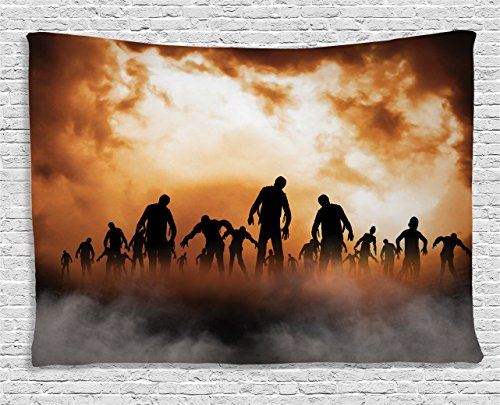 Ambesonne Halloween Decorations Tapestry, Zombies Dead Men Body in The Doom Mist at Night Sky Haunted Decor, Wall Hanging for Bedroom Living Room Dorm, 60 W X 40 L inches, Orange Black