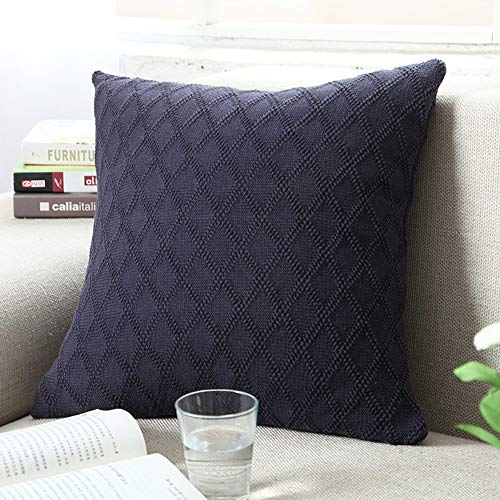(DOUH Cable Knitted Pillow Case Cushion Cover Decorative Knitting Patterns Square Warm Throw Pillow Cover with Zipper Concealed(Navy,18