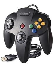 kiwitatá Classic N64 USB Controller, Retro N64 Bit USB Wired PC Game Controller Gamepad Joystick for Windows PC & Mac & Raspberry Pi 3 Black