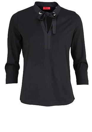 13b920cdb925 BOSS Hugo 3 4 Arm Blusenshirt DEYLIE Stehkragen Loose Fit schwarz Größe M