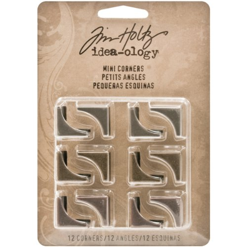 Mini Metal Corners by Tim Holtz Idea-ology, 12 per pack, 3/4-Inch, Antique Finishes, ()