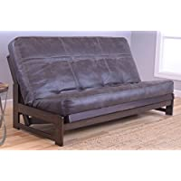 Colorado Reclaim Mocha Frame and Mattress Set w/ Choice of Fabrics, 7 Inch Innerspring Futon Sofa Bed Full Size Aspen Style (Frame w/ Palance Steel)