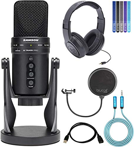 (Samson G-Track Pro USB Microphone with Audio Interface Bundle with Samson SR350 Headphones, Blucoil 6' 3.5mm Extension Cable, 10-FT USB Extension Cable, Pop Filter Windscreen, and 5X Cable Ties)
