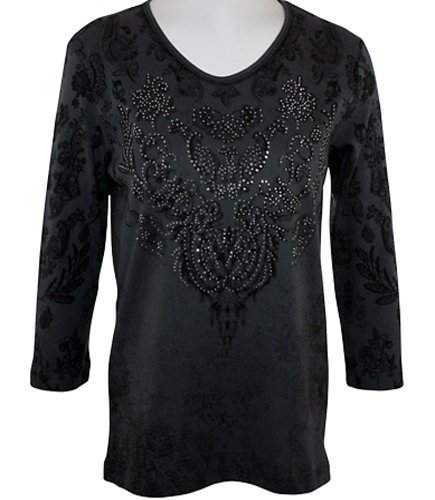 Cactus Bay Apparel Rhinestone (Cactus Bay Apparel - Antique Lace, Rhinestone Highlighted, 3/4 Sleeve, Crew Neck, Black Colored Stretch Cotton)