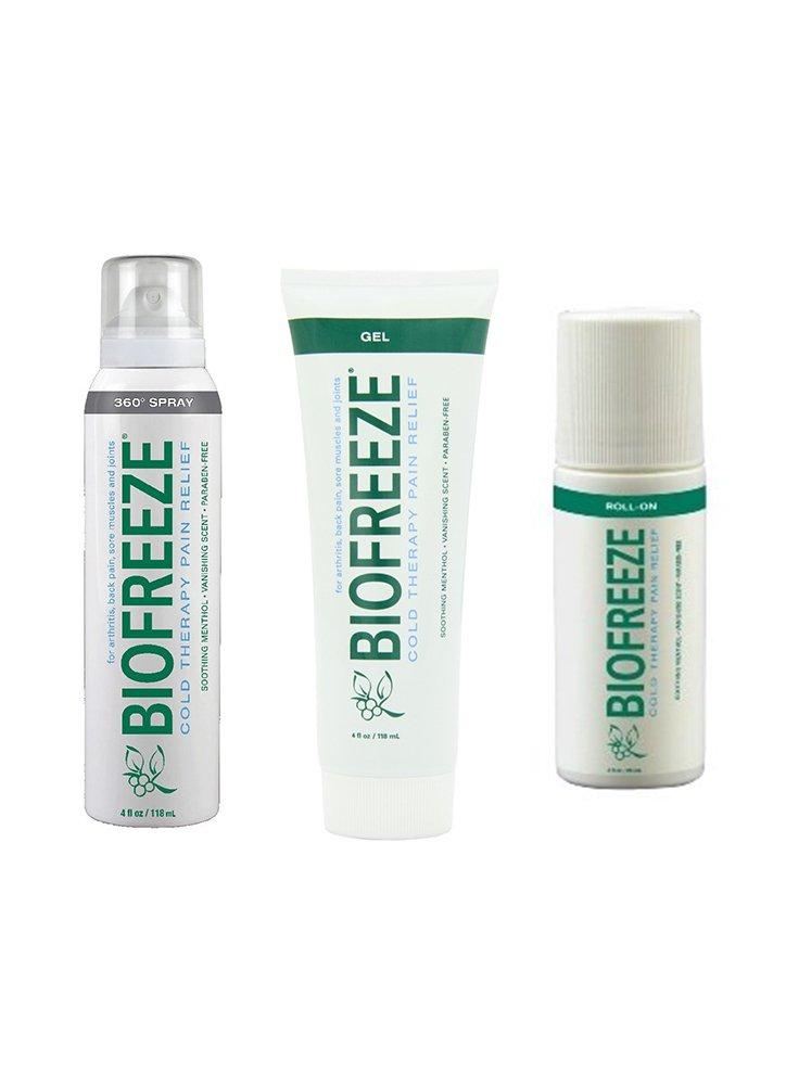 BIOFREEZE: ASSORTED 3 PACK!! One 4 oz. Gel Tube, One 4 oz. Spray & One 3 oz. Roll-On by Biofreeze