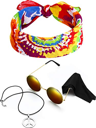 3 Pieces Hippie Costume Set, Include Peace Sign Necklace, Headband, Sunglasses for Theme Parties (Style F) -