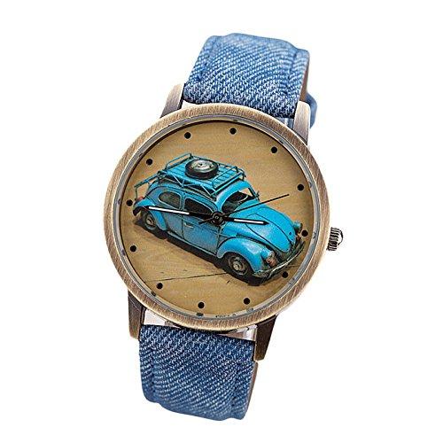 (Clearance! Charberry Mens Denim Twill Belt Watch Retro Car Pattern Denim Twill Strap Watch)