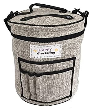 Premium Yarn Bin/Drum storage for crochet and knitting. Lightweight and portable with pockets for your hooks and tools. Handy slits on top to stop tangling and a comfy carry handle