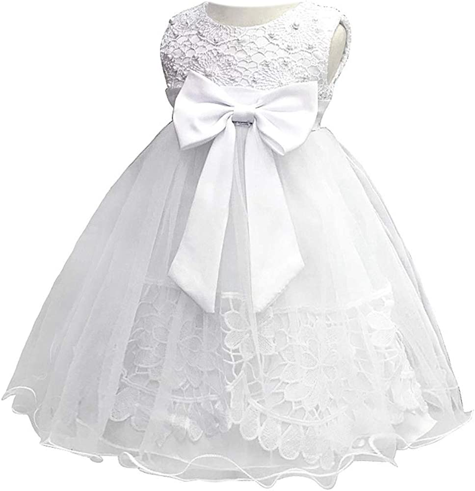 BOZEVON Vestido Elegante Boda Fiesta para Bebé - Niña Falda Blanco ...